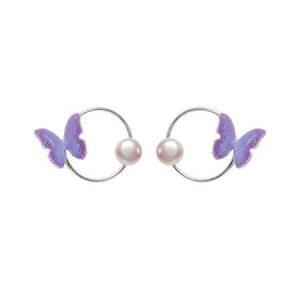 cercei cu fluturi violet